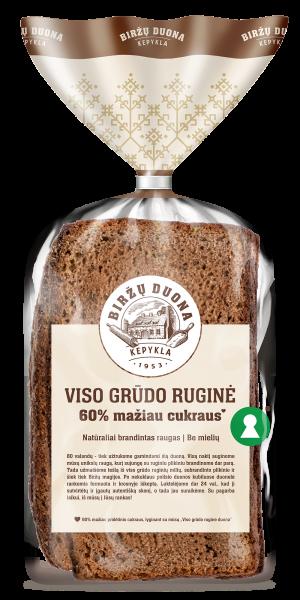 Viso grūdo ruginė duona | 60 % mažiau cukraus