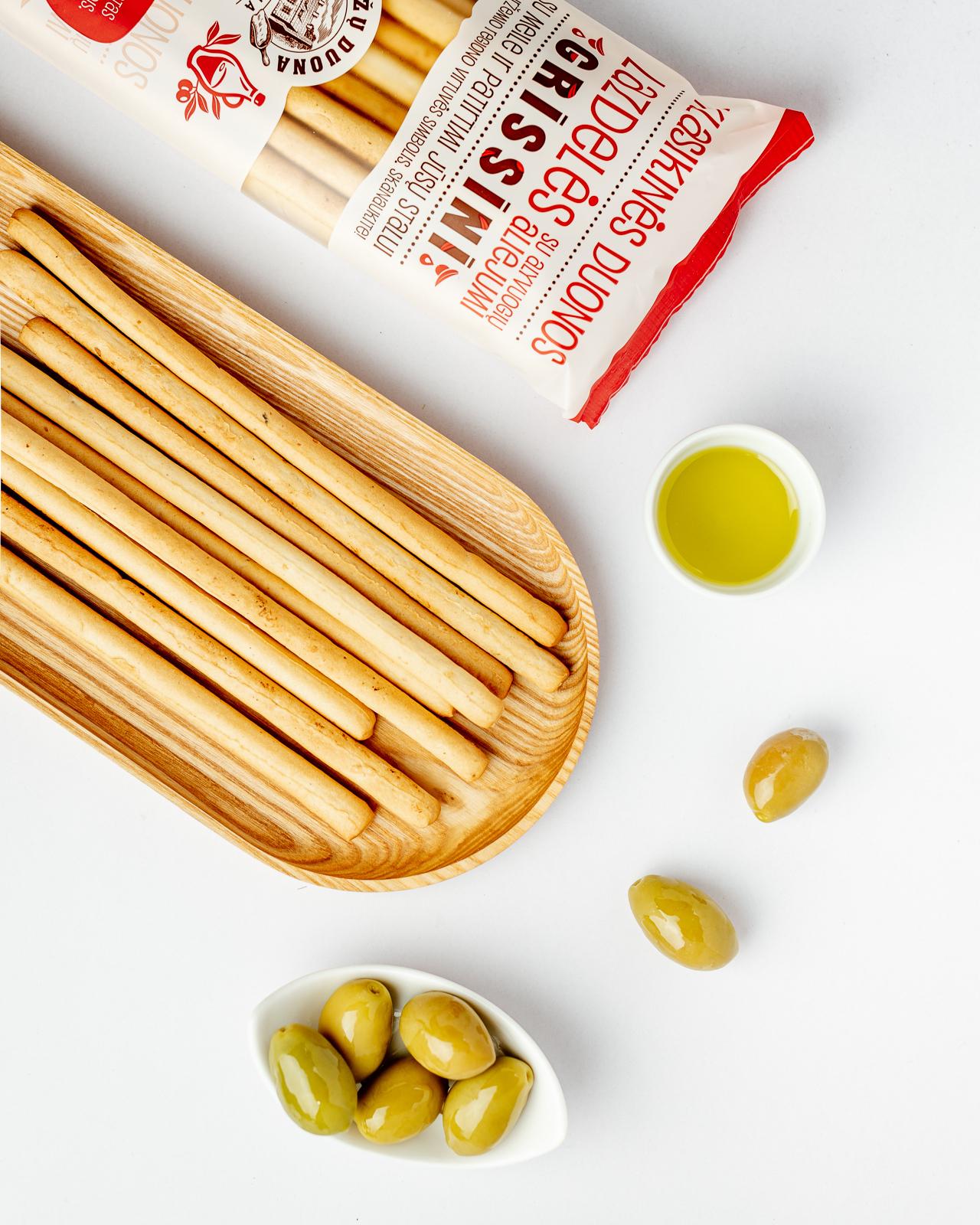 """""""Grissini"""" duonos lazdelės su alyvuogių aliejumi"""